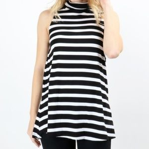 Tops - Charcoal Stripe Long Sleeveless Top